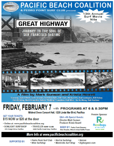 Pacific Beach Coalition Surf Movie Night ~ The Great Highway; Soul of SF Surfing @ Mildred Owen Concert Hall | Pacifica | California | United States