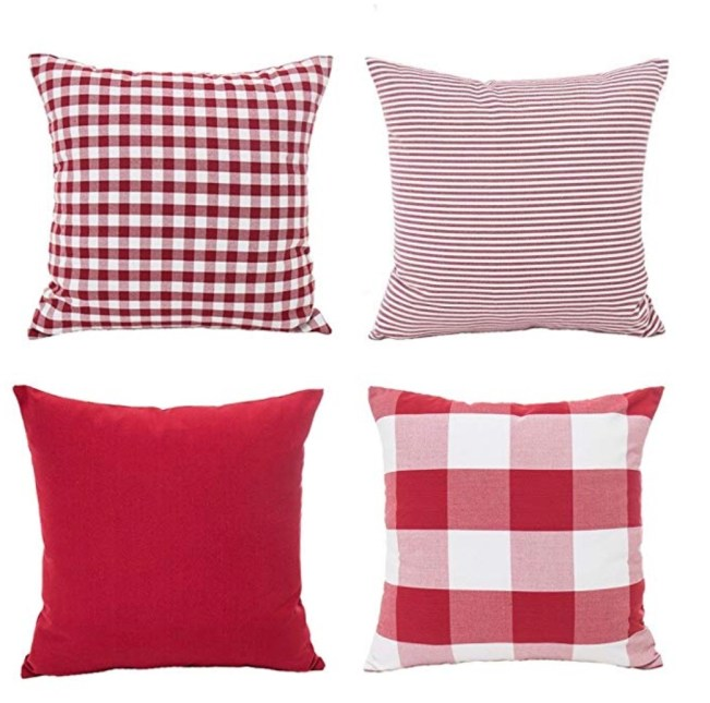 Christmas Pillows, Red Pillow, Plaid Pillow