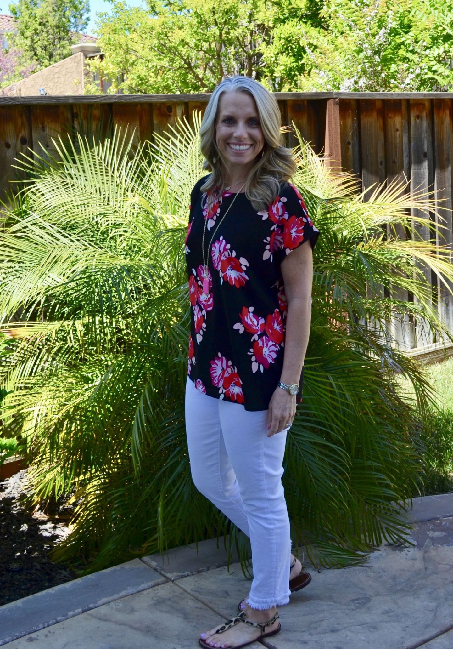White Loft jeans and floral top