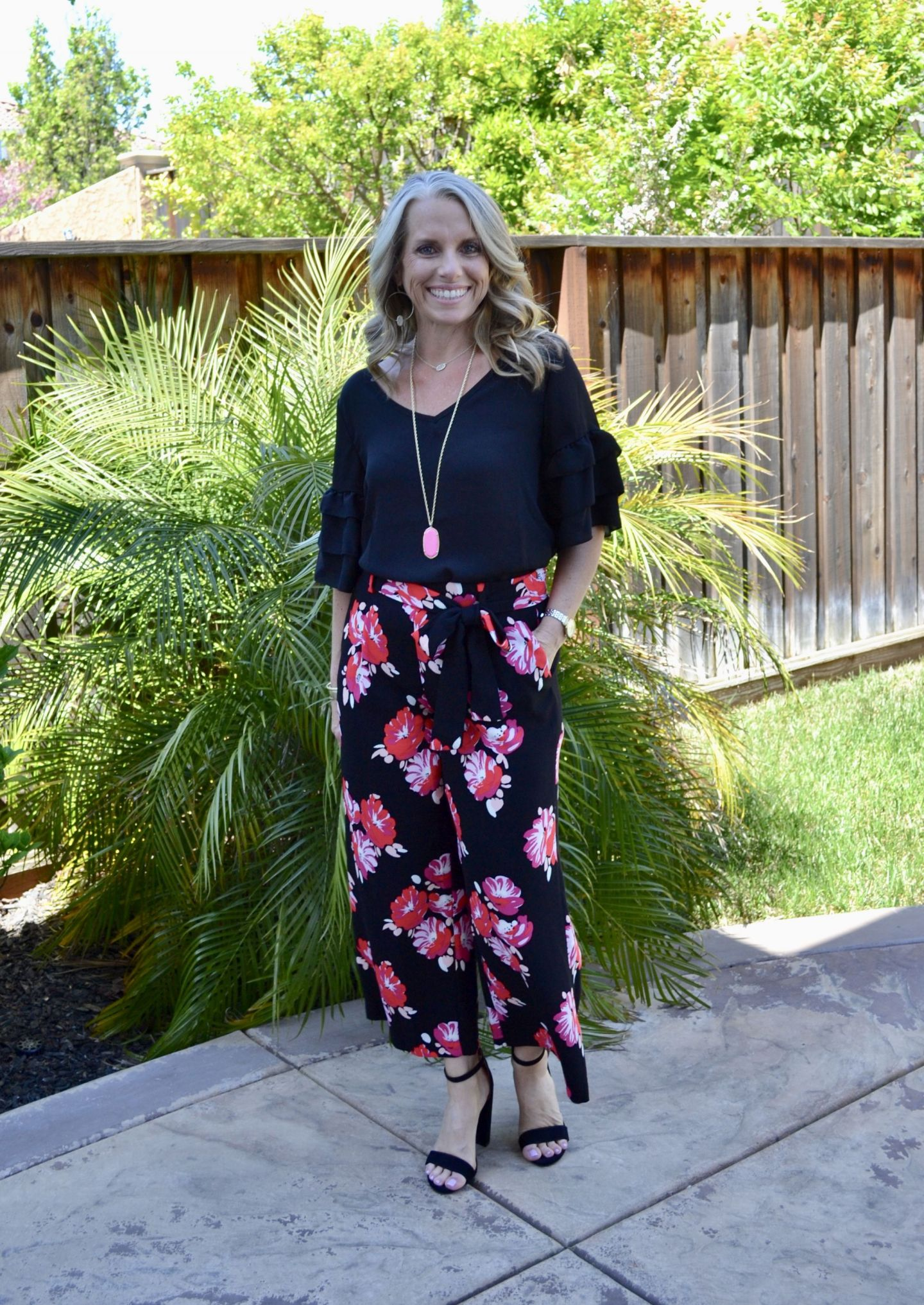 Floral pants, ruffled sleeve black top from Amazon