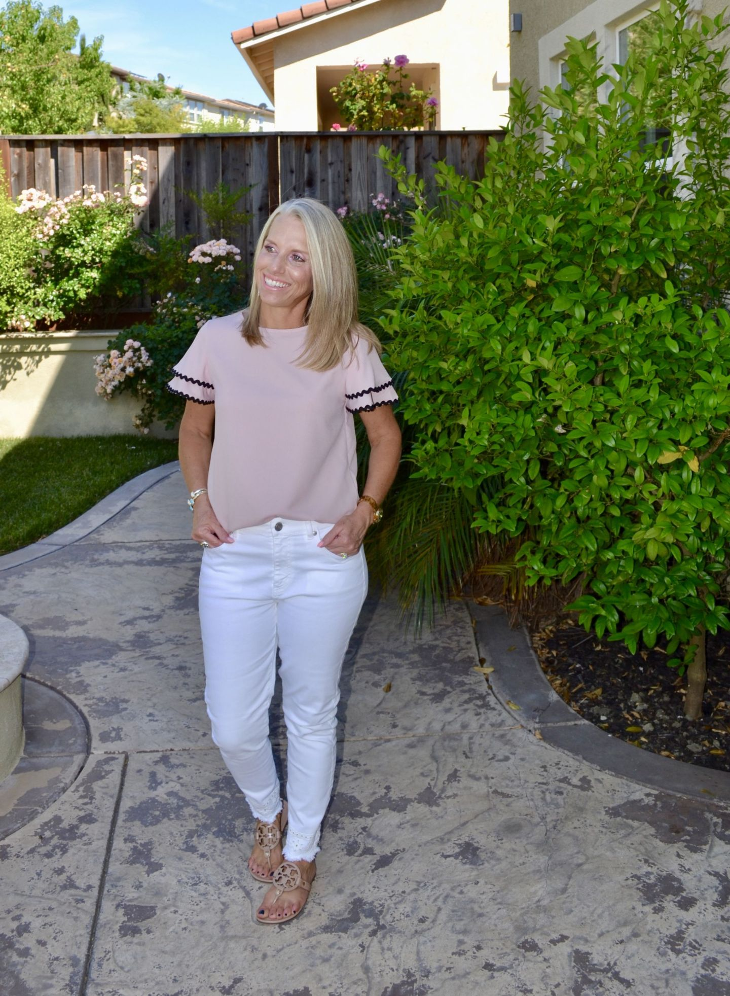 Ruffled Sleeve Blush Blouse and White Jeans