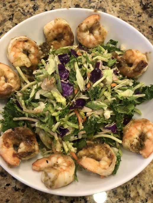Key lime shrimp with salad
