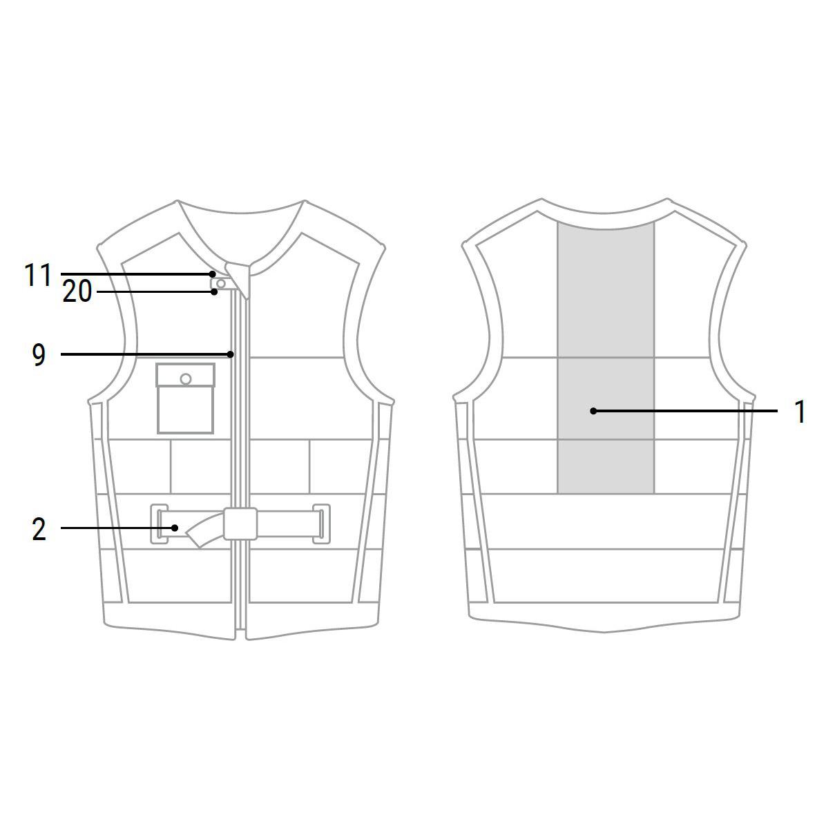 Mystic Shred Front Zip Impact Vest