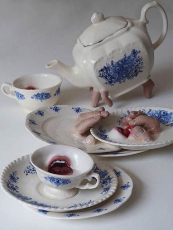 horror tea set by Ronit Baranga