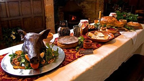 Medieval Feast with boar's head