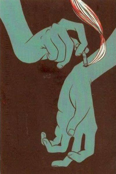 burning cigarette pressed into arm