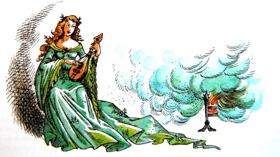 The Lady of the Green Kirtle and her mandolin