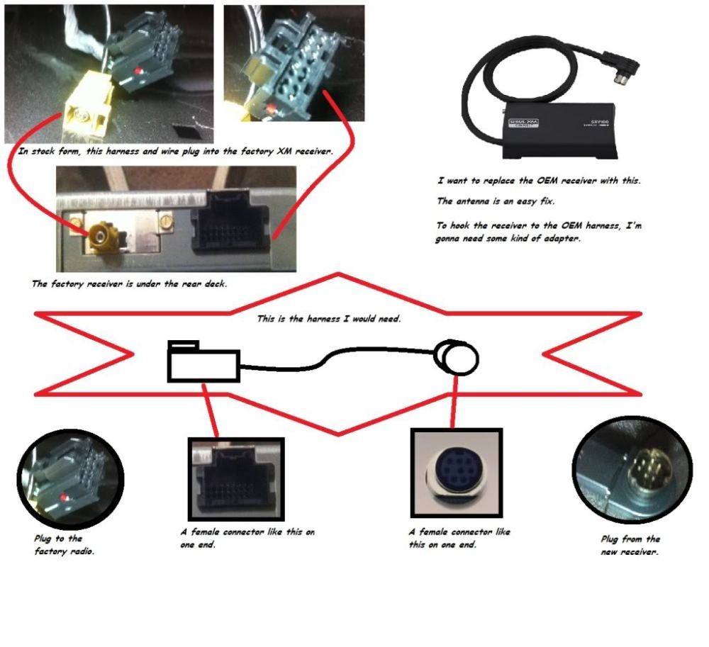 medium resolution of swapping oem xm receiver with aftermarket via harness cobalt ss pioneer deh 16 wiring harness diagram xm radio wiring diagram