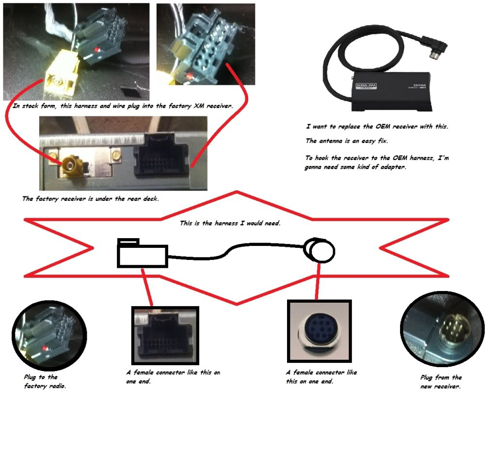 hight resolution of swapping oem xm receiver with aftermarket via harness cobalt ss pioneer deh 16 wiring harness diagram xm radio wiring diagram