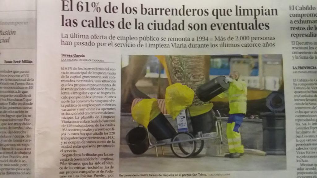 Publicado en el periodico La Provincia. Marzo 2015