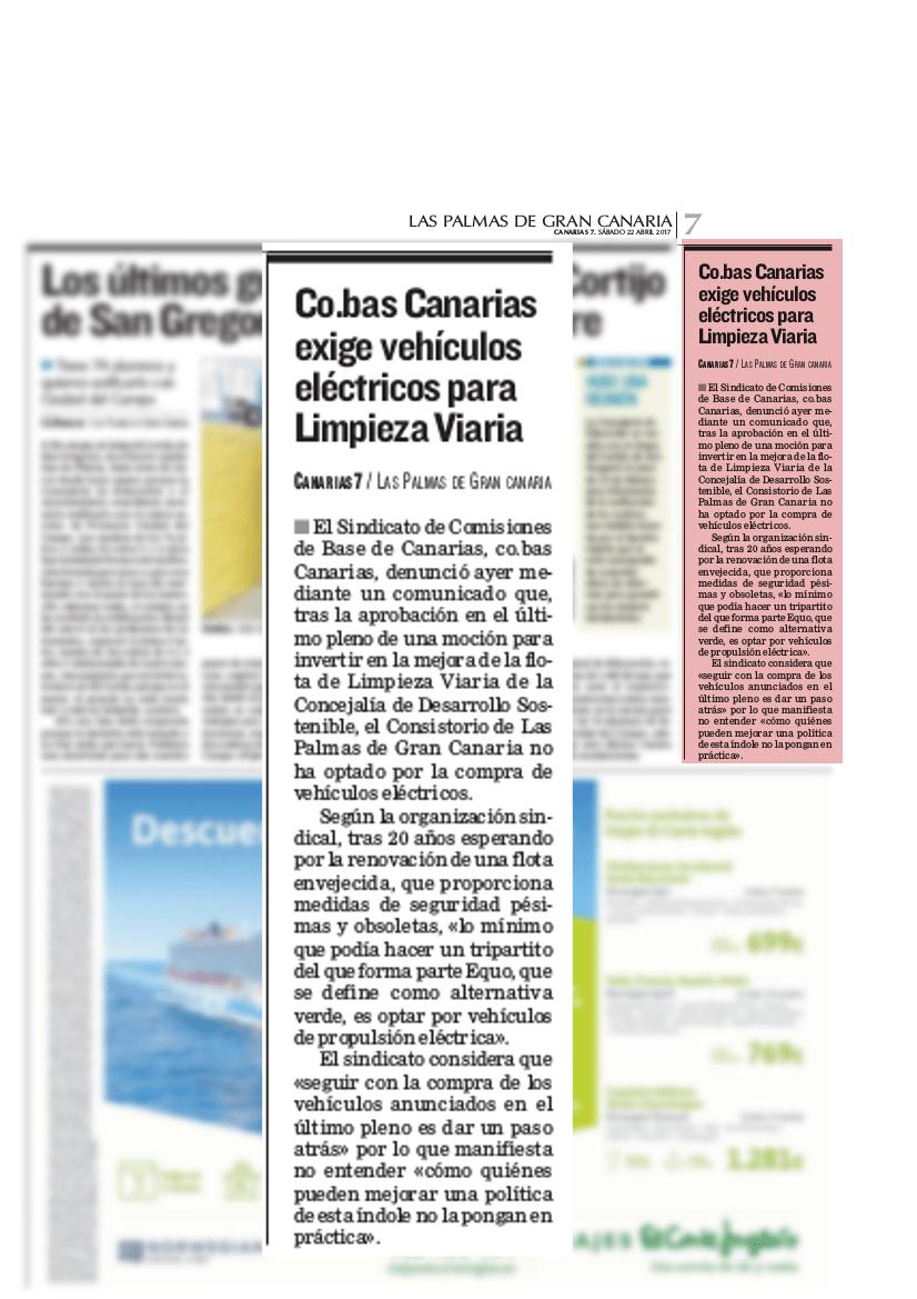 Canarias 7 2017-04-22_Co.bas Canarias exige vehículos eléctricos para Limpieza Viaria (1)