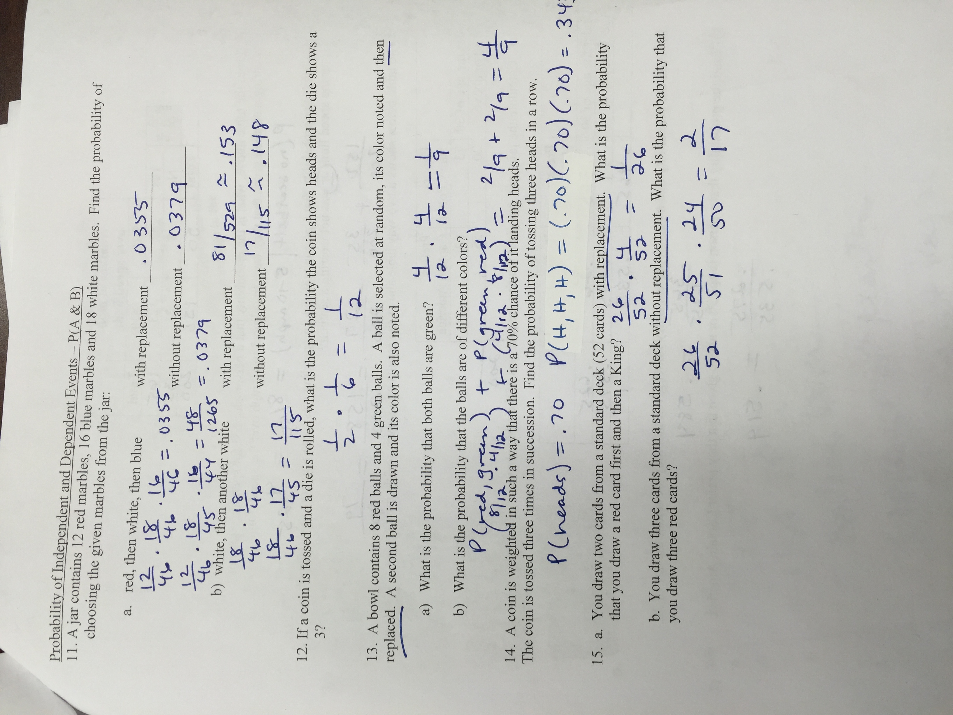 Algebra 2 Probability Worksheet With Answers