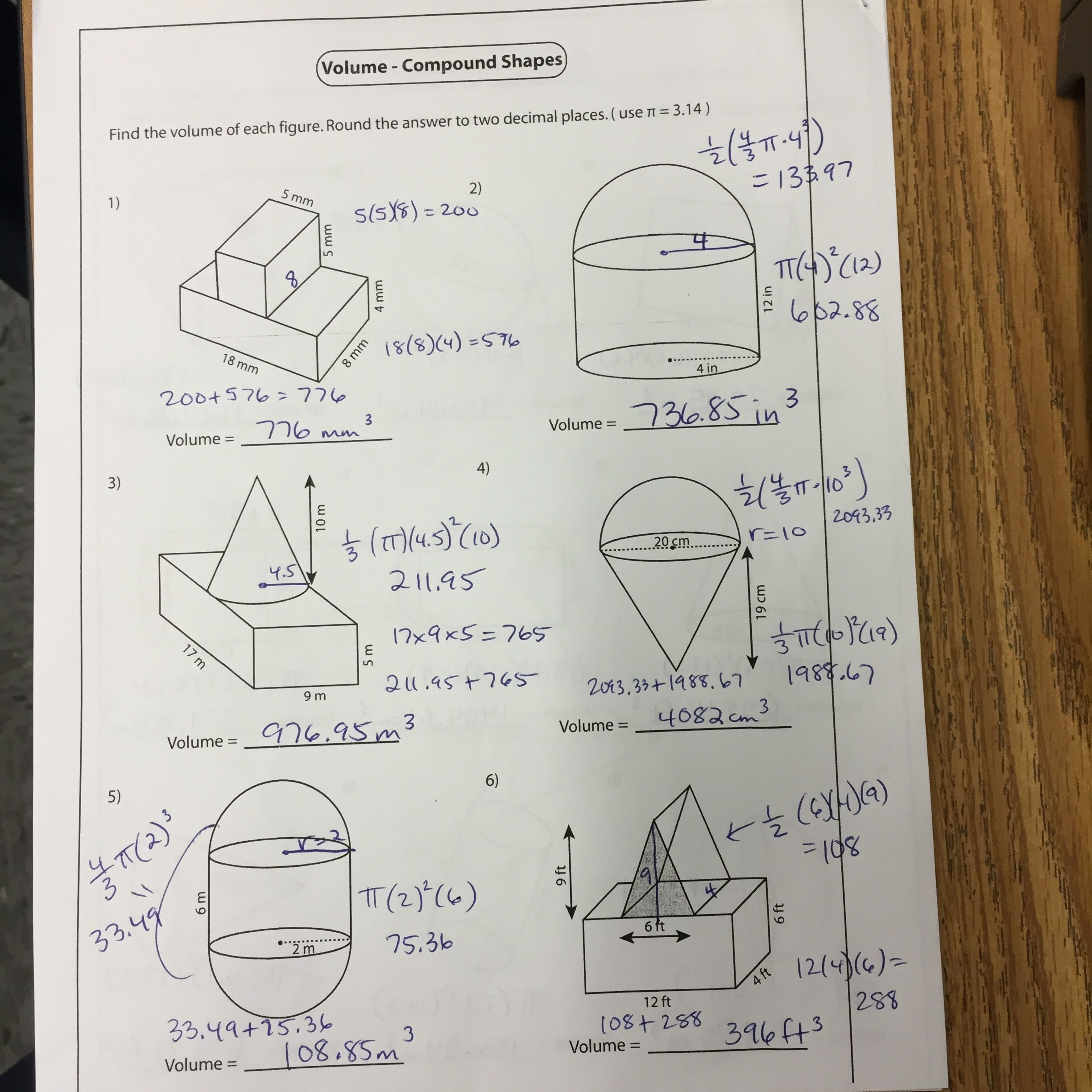 Volume Compound Shapes Worksheet Answers