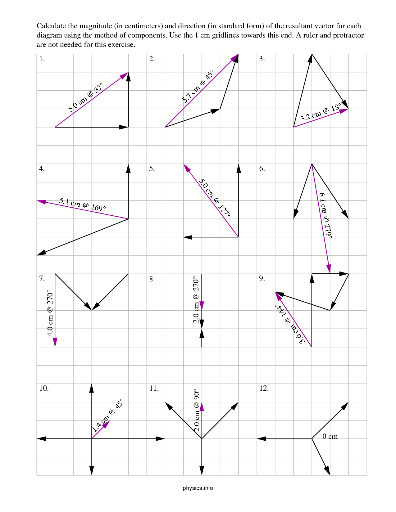 Graphical Vector Addition Worksheet
