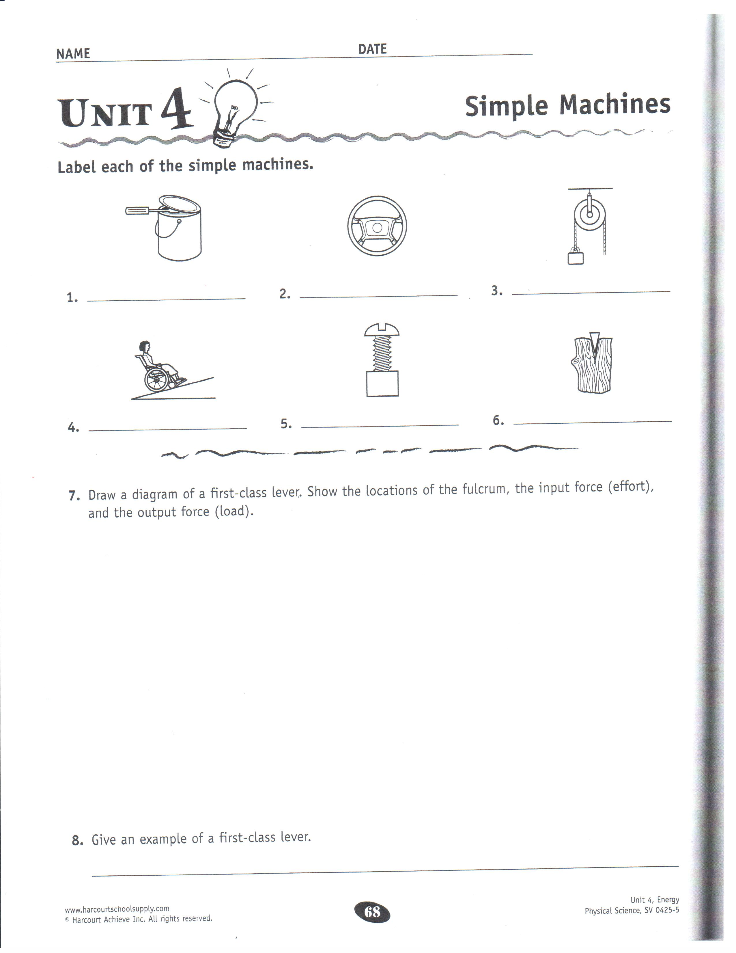Science Simple Machines Worksheet