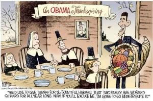Obama Redistributes Thanksgiving Plenty cartoon