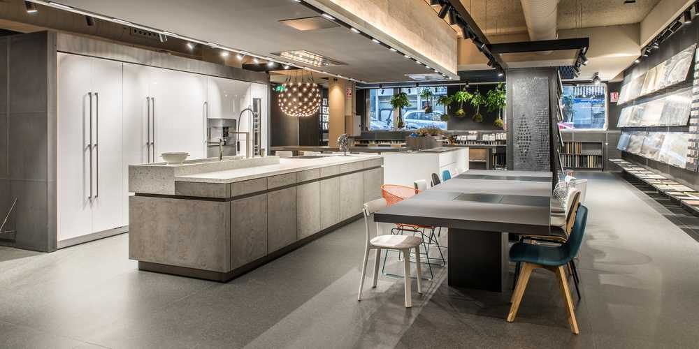kitchen showroom nook seating interior design and production of the azul acocsa