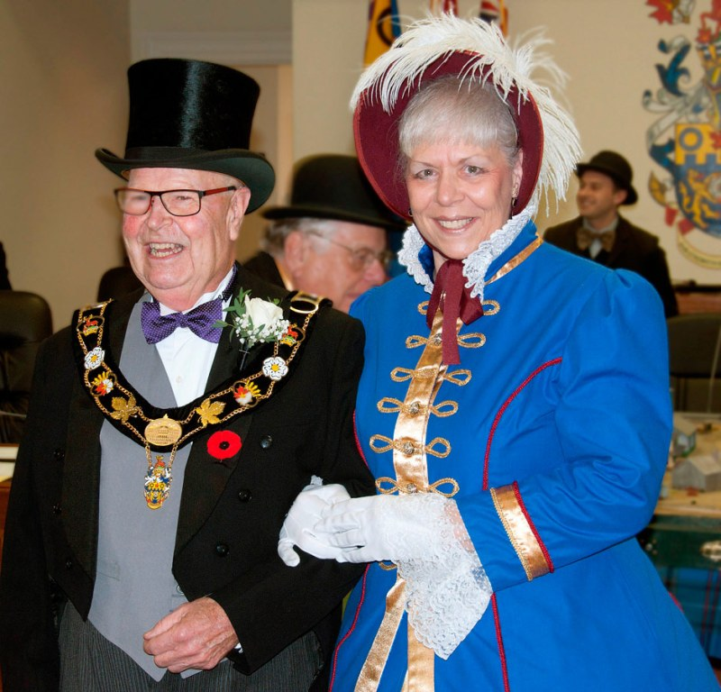 Mayor Gil Brocanier and Town Crier Mandy Robinson