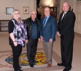 l-r  Wendy Gibson - Ec. Dev.; Lou Rinaldi M.P.P.; Gil Brocanier - Mayor; Adam Bureau - DBIA Chair.