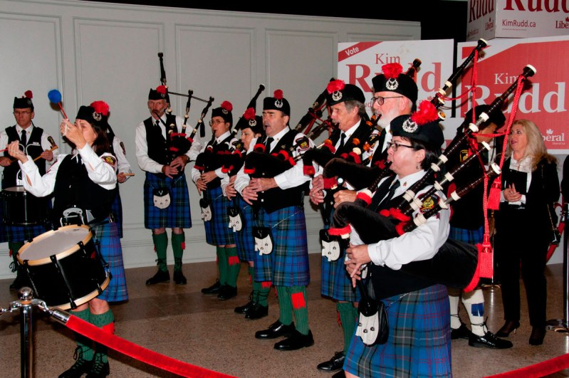 Cobourg Police Pipes and Drums at Trudeau event
