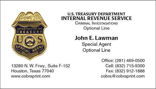Cobra Printing  Productions IRS Business Cards