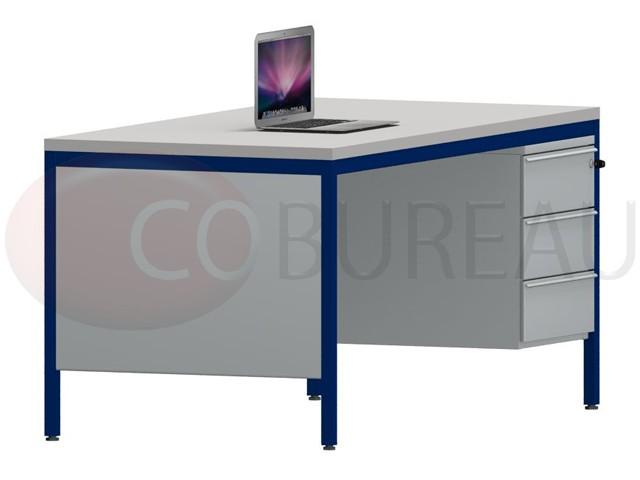 bureau demi ministre 160 cm metal gris bleu
