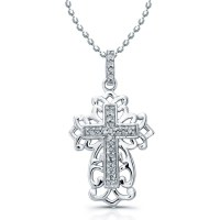 14k Rose Gold Diamond Cross Filigree Design Necklace