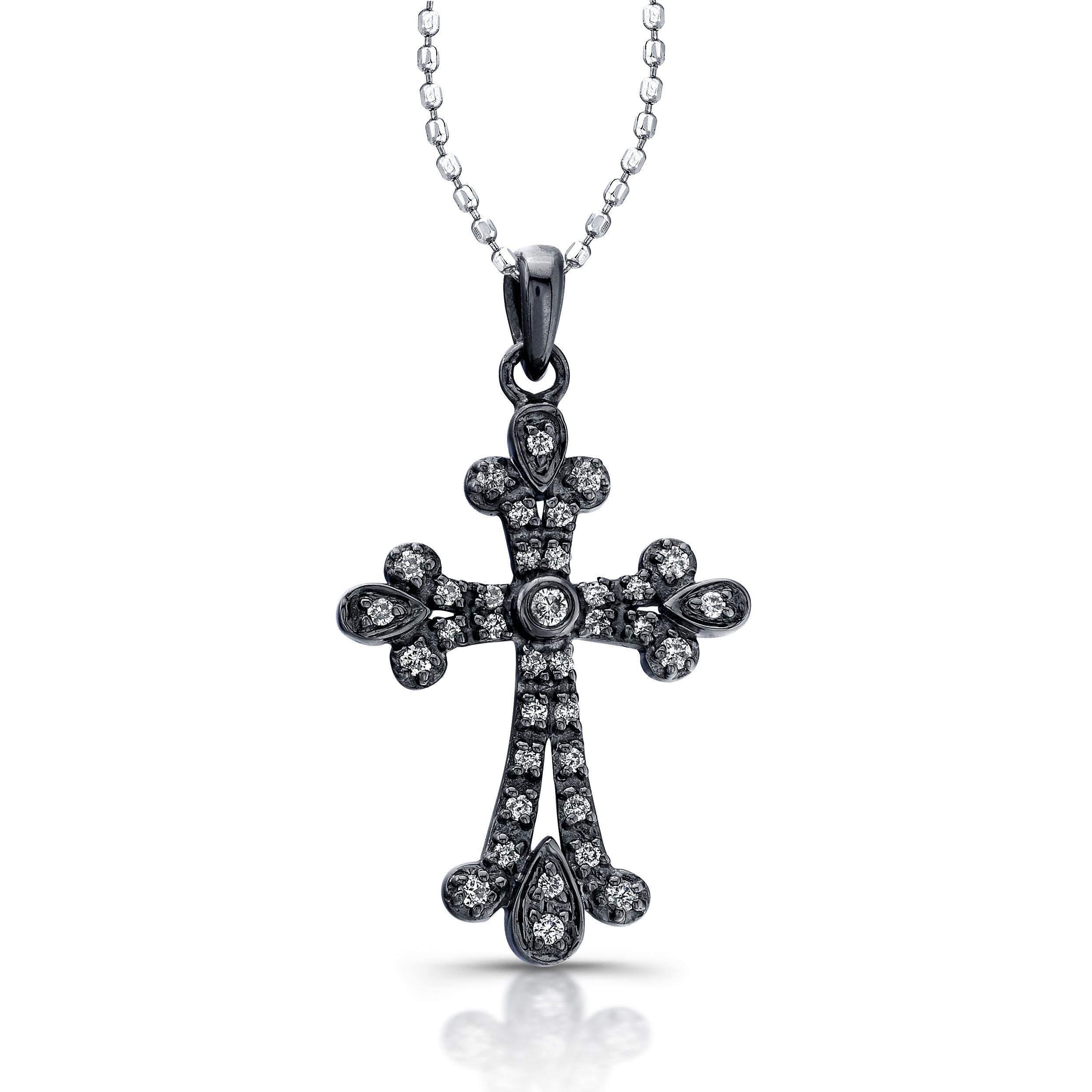14kt White Gold Diamond Cross Vintage Design