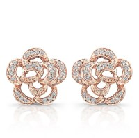14k Rose Gold Diamond Flower Earrings