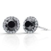 3/4 Ct Black Diamond Stud Earrings with Halo