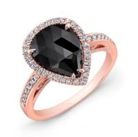 26176 Rose Gold Black Diamond Ring