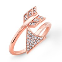 Rose Gold Diamond Arrow Ring 26714