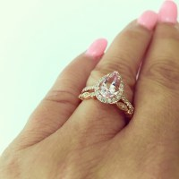 9X7 Pear Shape Morganite Engagement Ring