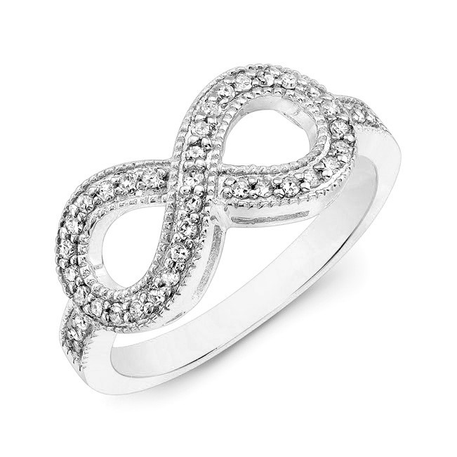 White Gold Infinity Ring CM107