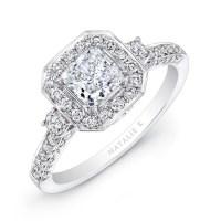 18k White Gold Round Diamond Square Halo Diamond E
