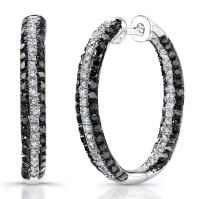 Silver Black And White Diamond Hoop Earrings