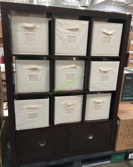 Bayside Furnishings 9 Cube Bookcase Room Divider with Drawers