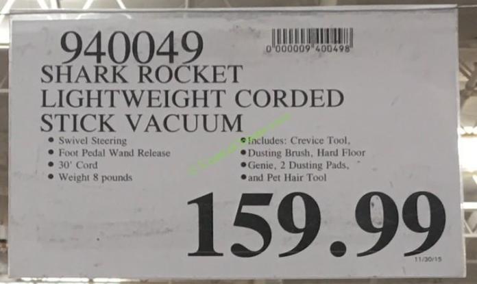 costco-940049-shark-rocket-lightweight-corded-stick-vacuum-price