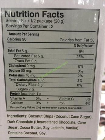 Dark Chocolate Coated Coconut Chips 10 Count Box