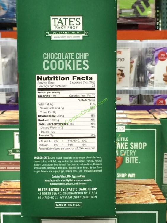 Tates Bake Shop Chocolate Chip Cookies 21 Ounce Box