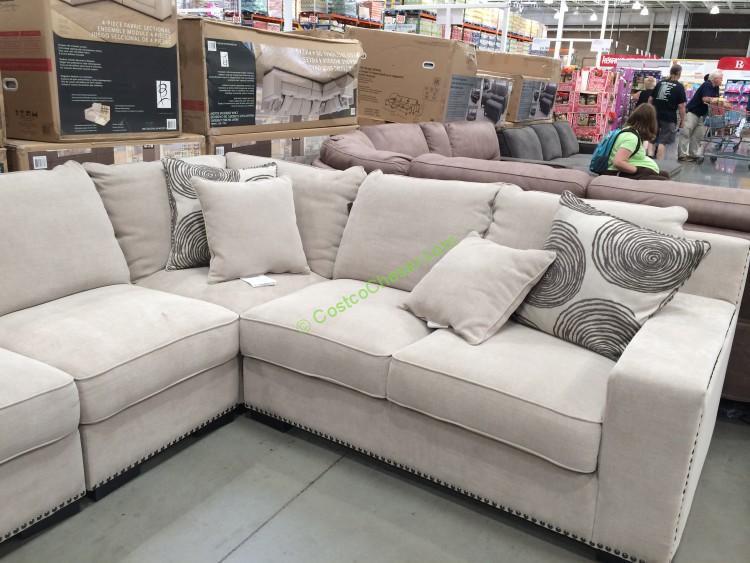 costco fabric reclining sofa simmons princeton iii bed reviews bainbridge 4pc sectional model# cou4254a-29-4pcset ...