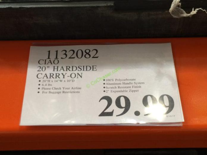 Costco-1132082-CIAO-20-Hardside-Carry-On-tag