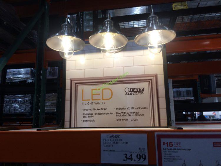 feit electric led 3 light bath vanity