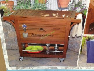 Tommy Bahama 100 Quart Wood Rolling Cooler Costcochaser