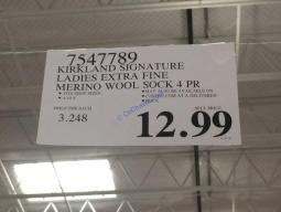 Costco-7547789-Kirkland –Signature-Ladies-Extra-Fine-Merino-Wool-Sock-tag