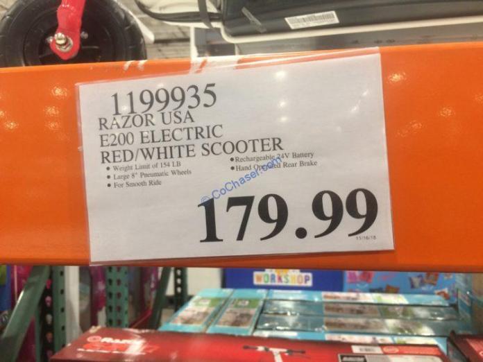 Costco-1199935-Razor-USA-E200-Electric-RedWhite-Scooter-tag