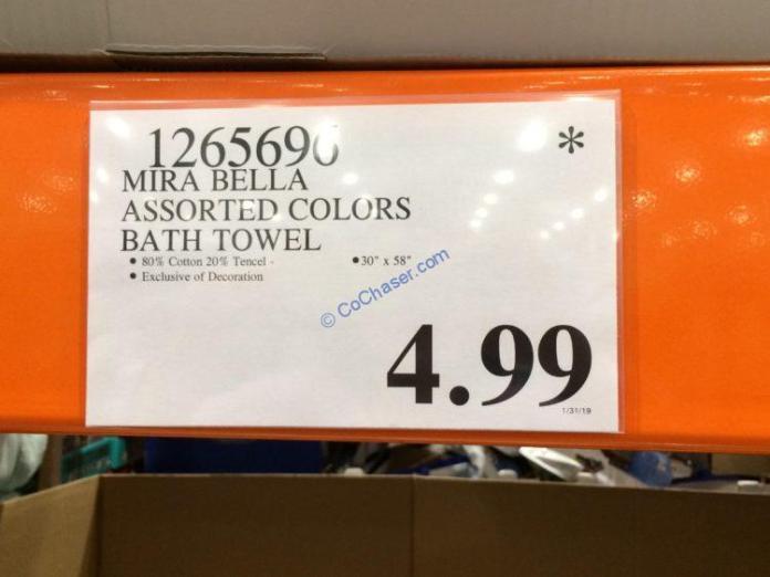 Costco-1265690-Mira-Bella-Assorted-Colors-Bath-Towel-tag