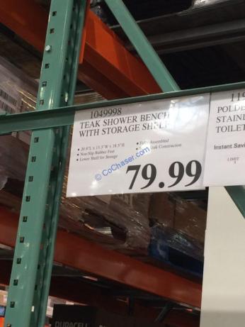 Costco-1049998-Teak-Shower-Bench-with-Storage-Shelf-tag