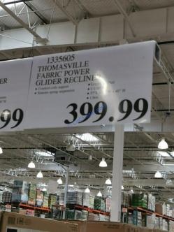 Costco-1335605-Thomasville-Fabric-Power-Glider-Recliner-tag