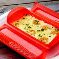 Arroz con curry y gambas - Vaporera Lekue silicona